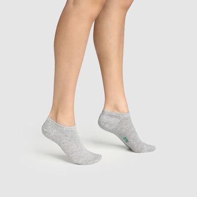 Pack de 2 pares de calcetines bajos para mujer de algodón bio gris Green By Dim, , DIM