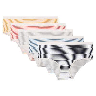 Pack de 5 culottes estampado de rayas retro Les Pockets Coton Strech de Dim, , DIM