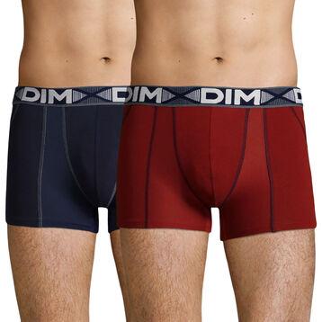 Pack de 2 bóxers largos rojo y azul 3D Flex Air, , DIM