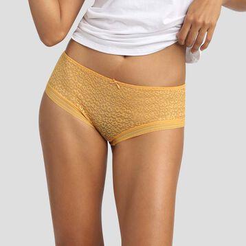 Culotte de microfibra  y encaje amarillo de leopardo Dotty Mesh, , DIM