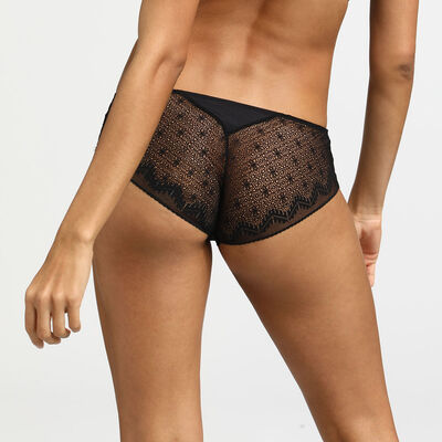 Dim Clair-Obscur Black Shorty in lace and microfibre, , DIM