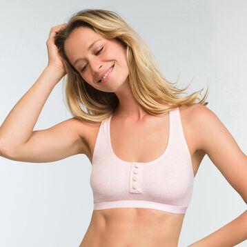 Sujetador rosa jaspeado claro de algodón elástico Casual Line, , DIM