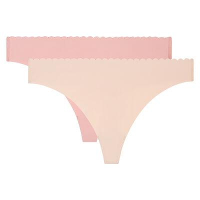 Pack de 2 tangas beige y rosa Body Touch Microfibre, , DIM