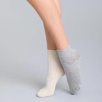 Lot de 2 socquettes grises confetti & lurex en coton Femme-DIM