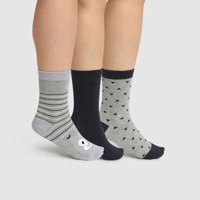 Pack de 3 pares de calcetines de algodón ardilla gris Kids Coton Style, , DIM