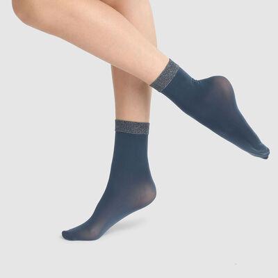 Calcetines bajos de fantasía azul con una banda de lurex en el tobillo Style 23D, , DIM