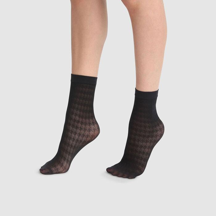 Calcetines bajos de fantasía de pata de gallo negros Dim Style 29D, , DIM