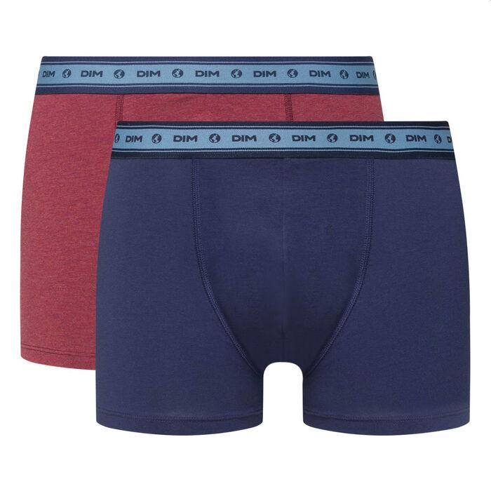 Pack de 2 bóxers de algodón elástico bio rojo y azul Green by Dim, , DIM
