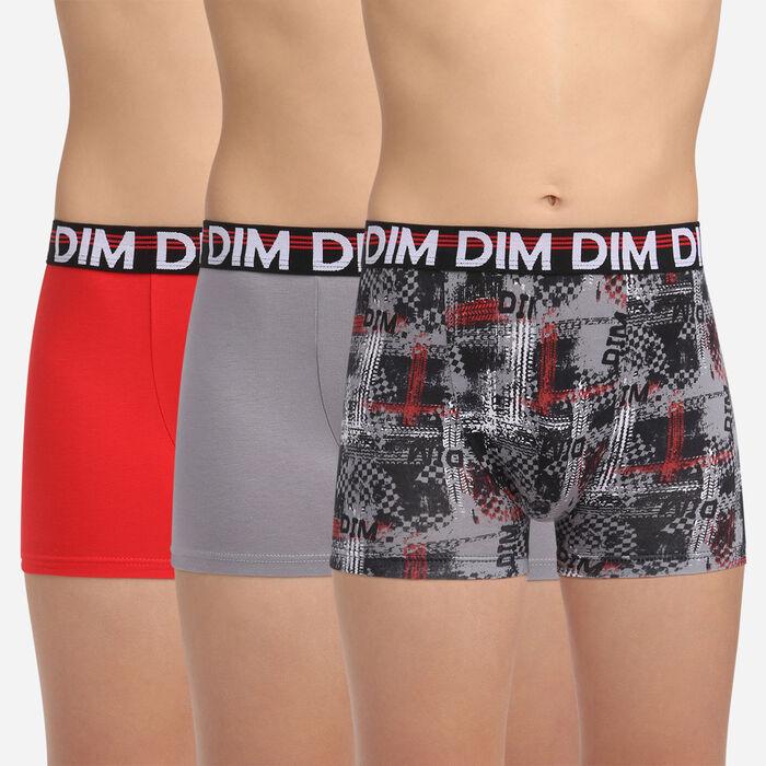Pack de 3 bóxers rojo, gris y negro fantasía niño de algodón Eco Dim 3D, , DIM