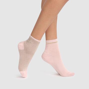 Pack de 2 pares de calcetines fantasía de lurex rosa Coton Style, , DIM