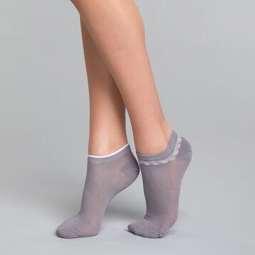 Pack de 2 pares de calcetines bajos fantasía grises con tobillera - Dim Coton Style, , DIM