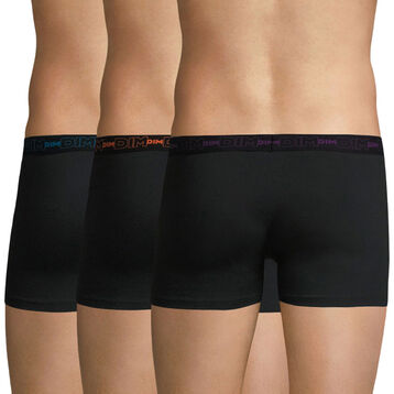 Lot de 3 boxers noirs ceintures colorées Coton Stretch-DIM