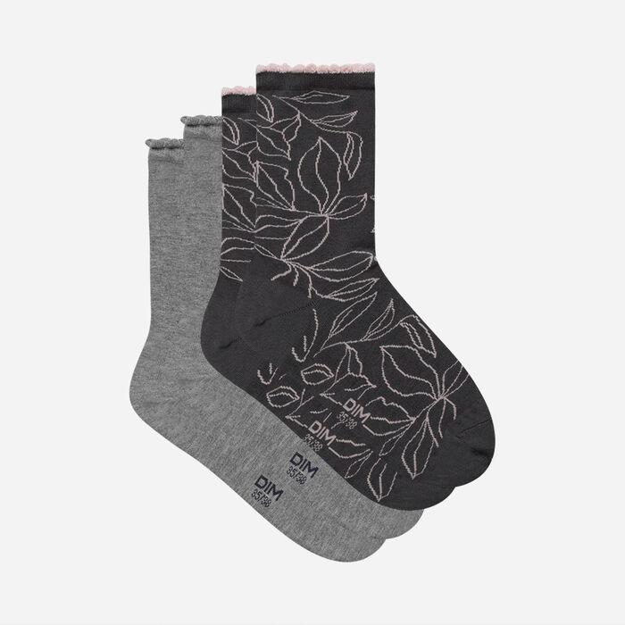 Juego de 2 pares de calcetines de mujer hojas XL Gris Claro Dim Bambú, , DIM