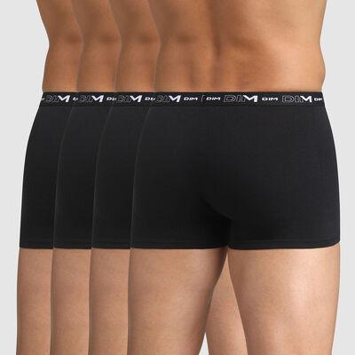 Pack of 4 black trunks for men Coton Stretch, , DIM