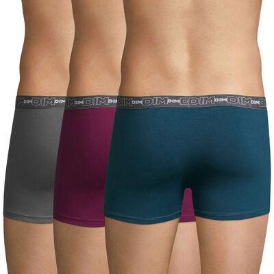 Lot de 3 boxers lie de vin, gris et bleu Coton Stretch-DIM