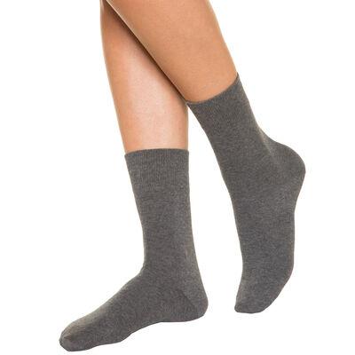 Calcetines antracita para mujer de puro algodón, , DIM