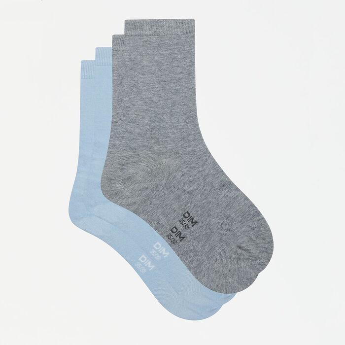 Pack de 2 pares de calcetines mujer azules y grises Basic Coton, , DIM