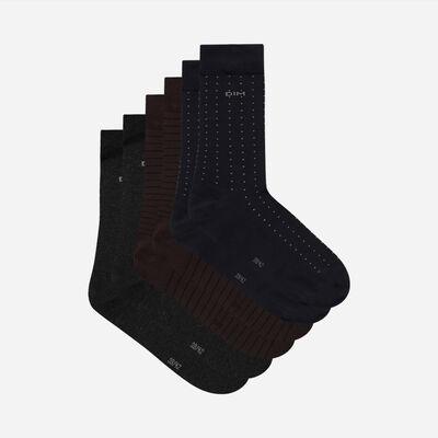 Pack de 3 pares de calcetines de hombre a rayas y lunares Marrón Coton Style, , DIM
