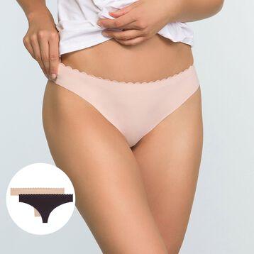 Pack de 2 tangas de microfibra violeta y skin Body Touch, , DIM