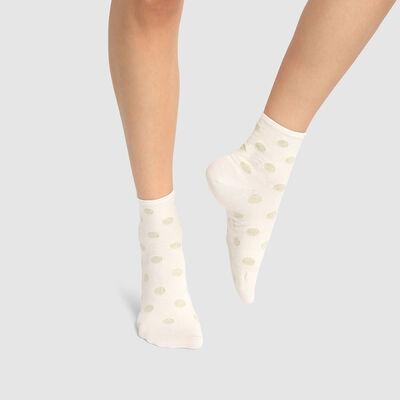 Calcetines bajos para mujer de algodón estampado lunares en lurex marfil y dorado Coton Style, , DIM