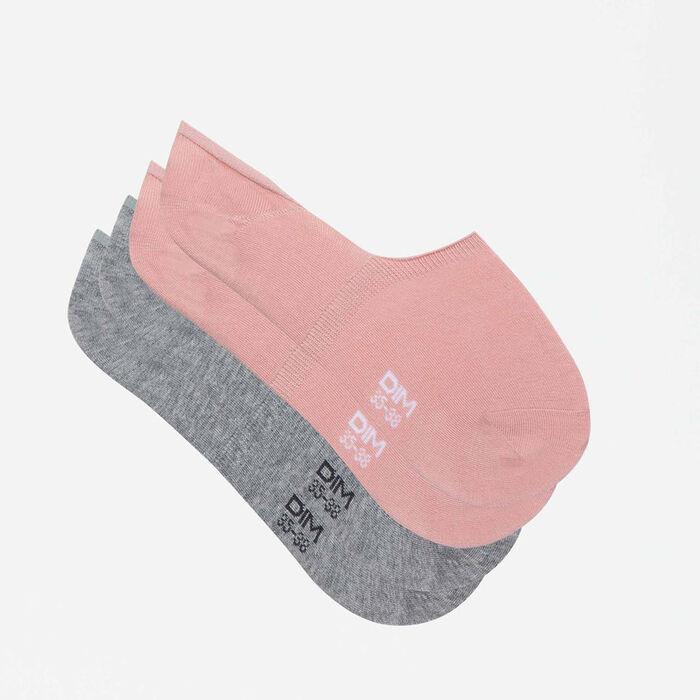 Pack de 2 pares de calcetines pinkies grises y rosas Basic Coton, , DIM