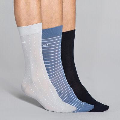 Pack de 3 pares de calcetines estampados azules y grises Hombre - Dim Coton Style, , DIM