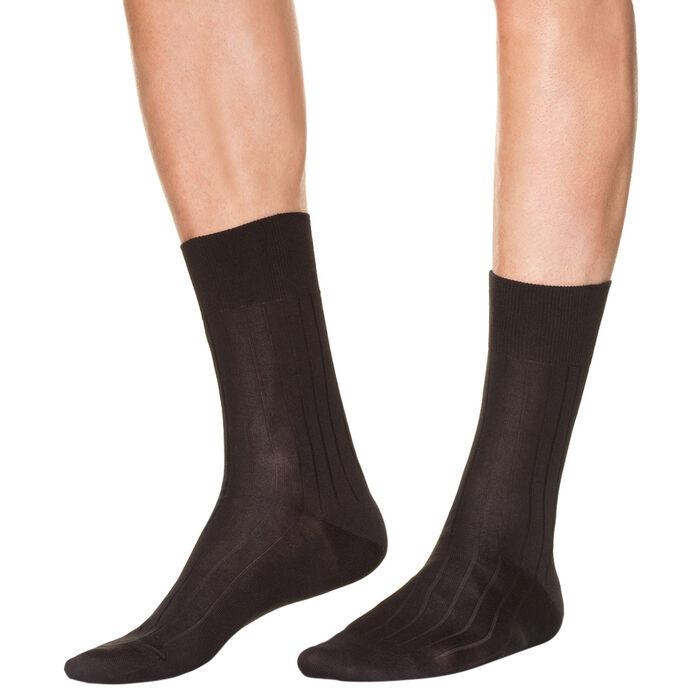 Pack de 2 pares de calcetines negros de hilo de Escocia para hombre, , DIM