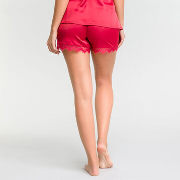 Pantalón corto de pijama satén con encaje fucsia - Glamour, , DIM