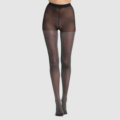 Dim Style 23D fancy tights in black lurex, , DIM