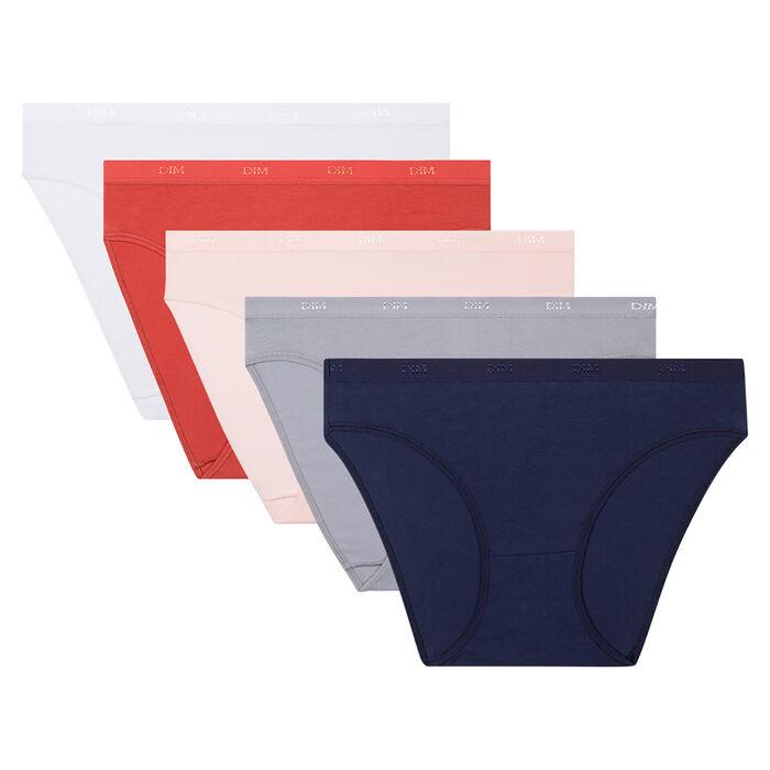 Pack de 5 braguitas de algodón elástico coloridas Les Pockets EcoDim, , DIM