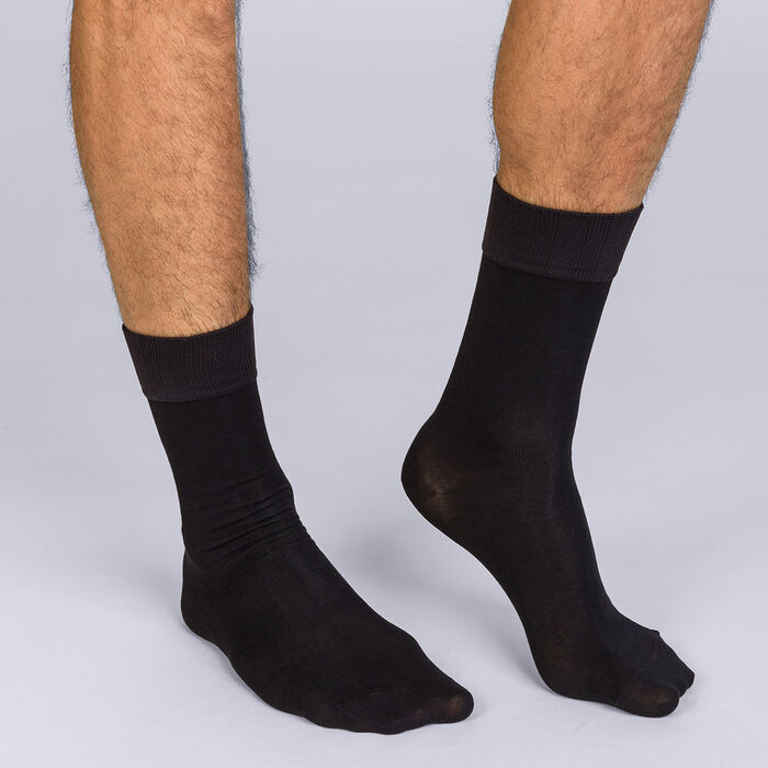 Pack de 2 pares de calcetines de media pantorrilla negros hombre Soft Touch, , DIM