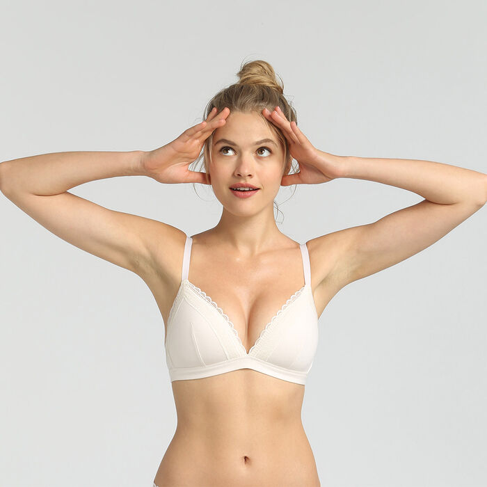 Dim Cotton Lace pearl cotton wireless padded triangle bra, , DIM