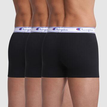 Pack de 3 bóxers negros con costuras blancas - Champion, , DIM