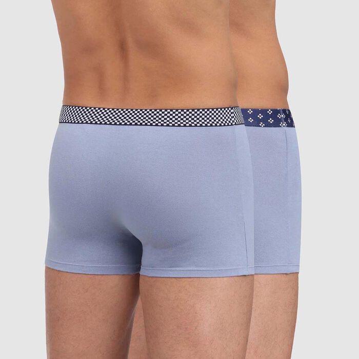 Pack de 2 bóxers azul de algodón elástico con cintura estampada Mix and Print, , DIM