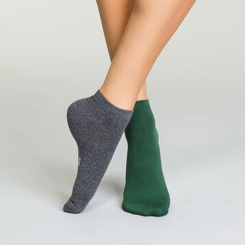 Pack de 2 pares de calcetines tobilleros de microfibra para mujer verdes y grises, , DIM