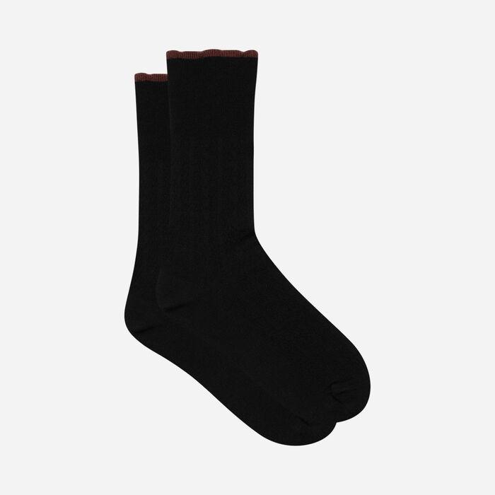 Calcetines de lana para mujer con banda superior de fantasía Negro Canela Dim, , DIM