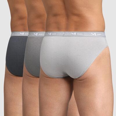 Pack de 2 slips para hombre de algodón elástico gris oscuro, acero y granito Dim, , DIM