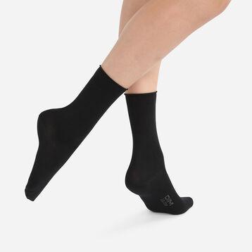 Pack de 2 pares de calcetines de algodón modal negros para mujer, , DIM