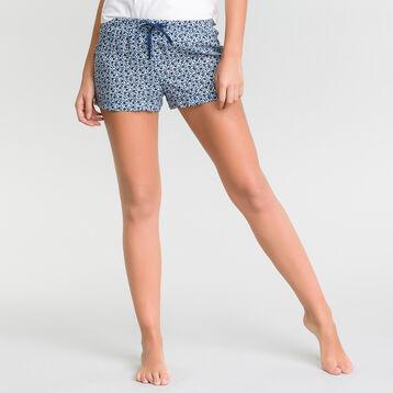 Pantalón corto de pijama azul con estampado azul de flores - Fashion  , , DIM