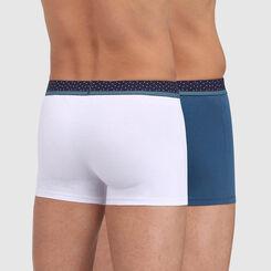 Pack de 2 bóxers blanco y azul con cintura estampado plumetis Mix&Dots, , DIM