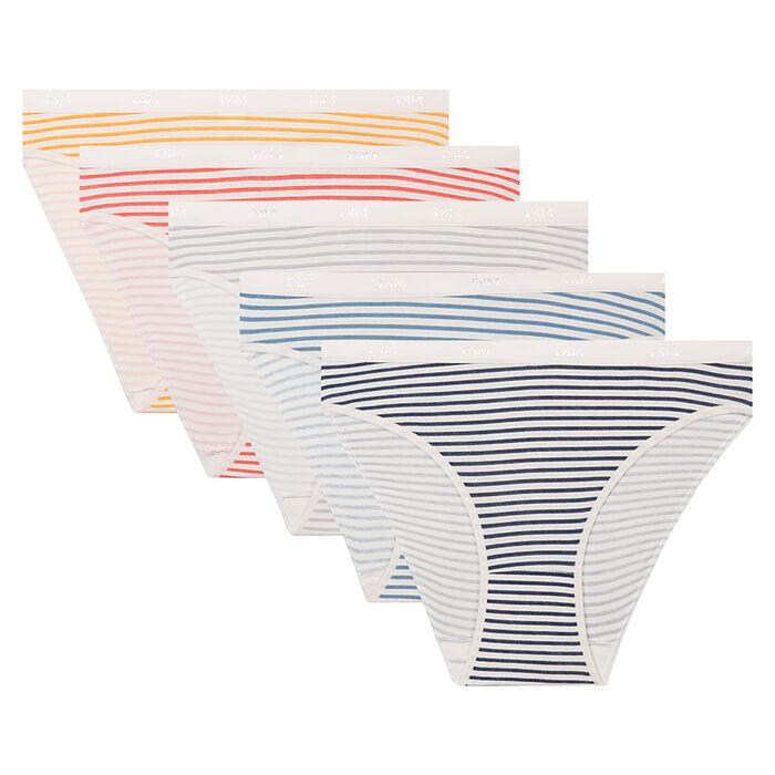 Pack de 5 braguitas estampado de rayas retro Les Pockets Coton Strech Dim, , DIM