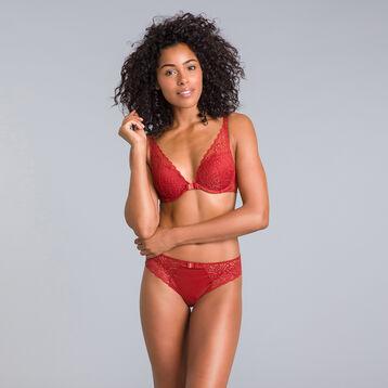 Soutien-gorge foulard push-up rouge cuivré Sublim Dentelle-DIM