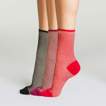 Pack de 3 pares de calcetines de algodón de rayas con efecto lurex, , DIM