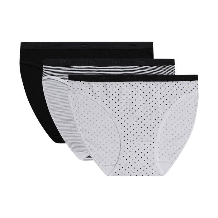 Pack de 3 bragas tipo slip de algodón elástico con estampados negros y blancos Les Pockets, , DIM