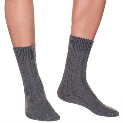 Calcetines de media pantorrilla color antracita de lana y cachemira para hombre, , DIM