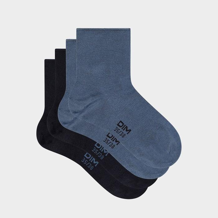 Pack de 2 pares de calcetines bajos para mujer de algodón modal azul marino Dim Modal, , DIM