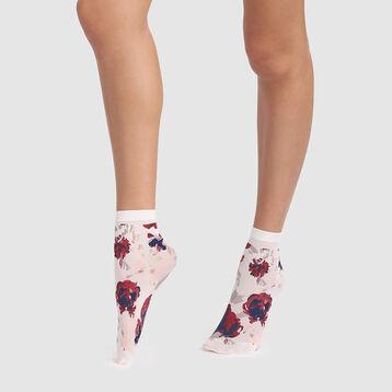 Calcetines bajos marfil con estampado de flores Style de Dim 40D, , DIM