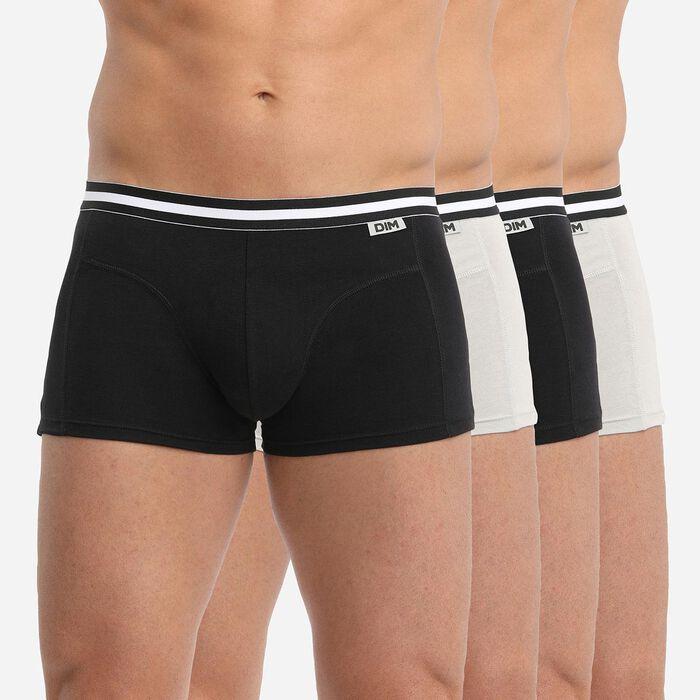 Pack de 4 bóxers negros y grises de algodón ECODIM, , DIM