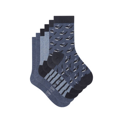 Pack de 3 pares de calcetines estampado ballena azul Kids Coton Style, , DIM