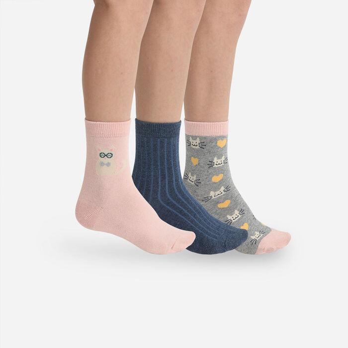 Pack de 3 pares de calcetines para niños con estampado de gatos Coton Style Kids, , DIM